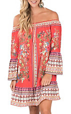 Umgee Women's Coral Floral Off the Shoulder Bell Sleeve Dress
