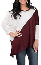 Umgee Women's Burgundy and White Hi-Lo 3/4 Dolman Sleeve Casual Knit Top