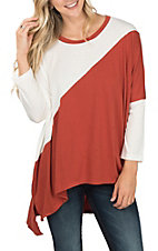 Umgee Women's Burnt Orange and White Hi-Lo Dolman Sleeve Casual Knit Shirt