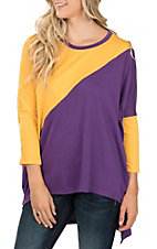 Umgee Women's Purple and Yellow High/Low Fashion Shirt
