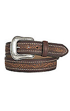 Justin Men's Brown Floral Embossed with Silver Buckle Western Belt