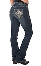 Wired Heart Women's Cross Faux Flap Boot Cut Jeans