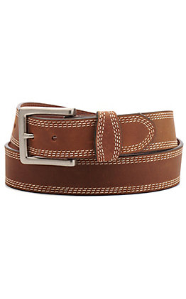 Justin Men's Brown Triple Stitch Classic Western Belt