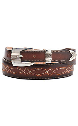 Justin Men's Cibola Brown with Stitching Tapered Classic Western Belt