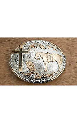 Crumrine  Silver & Gold Cowboy Prayer Oval Buckle