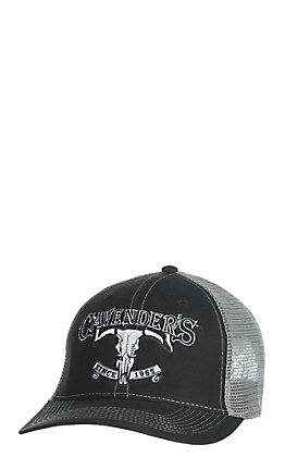 Cavender's Black with Charcoal Skull Logo Mesh Back Snap Back Cap