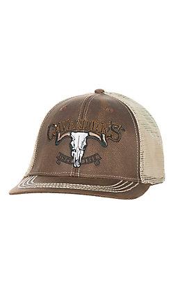 Cavender's Brown Skull Logo Mesh Back Snap Back Cap