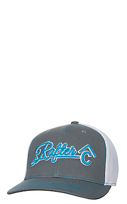 Rafter C Charcoal White and Neon Blue Mesh Snap Back Cap