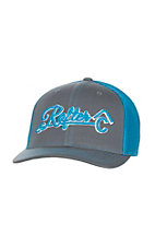 Rafter C Grey with Blue Embroidered Logo and Mesh Back Snap Back Cap