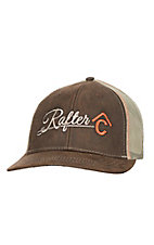 Rafter C Brown & Tan Oilskin Mesh Snap Back Cap