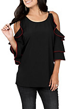 Umgee Women's Black and Red Cold Shoulder Fashion Top