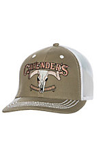 Cavender's Khaki and White Skull 3D Logo Mesh Snap Back Cap