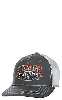 Cavender's Charcoal and White Stockyards Mesh Snap Back Cap