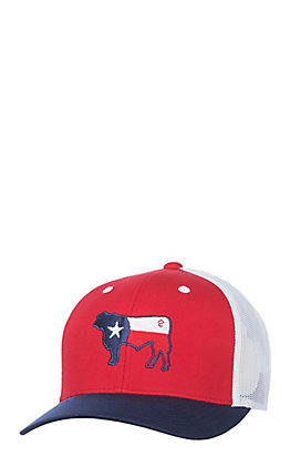 Rafter C Red, White and Blue Texas Flag Cow Snap Back Cap
