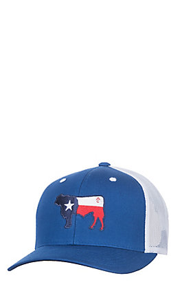 Rafter C Royal Blue Texas Flag Cow Snap Back Cap
