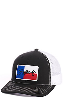 Rafter C Black Tx Flag Patch Cap