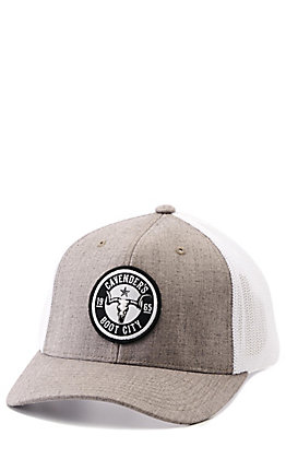 Cavender's Tan and White with Round Skull Patch Snapback Cap