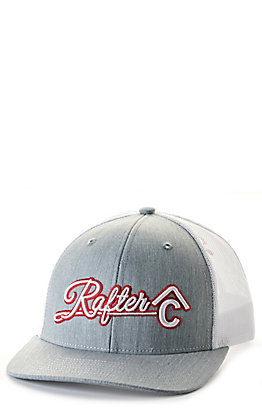 Rafter C Grey and White with Red and White Script Logo Cap