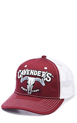 Cavender's Maroon & White 3D Skull Logo Mesh Back Cap