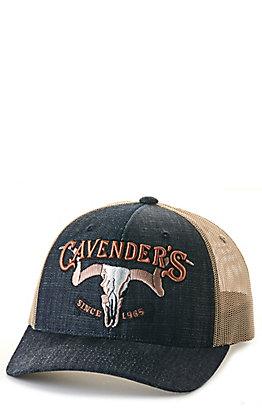 Cavender's Denim & Tan 3D Skull Logo Mesh Back Cap