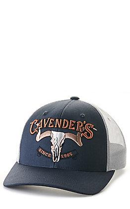 Cavender's Navy & White 3D Skull Logo Mesh Back Cap
