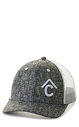 Rafter C Grey Crosshatch with White Logo Mesh Back Cap