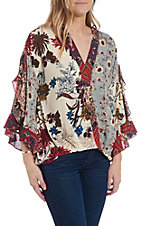Umgee Women's Vanilla Floral Print Fashion Top