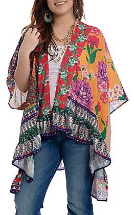 UMGEE Women's Flowy Hot Pink Multi Print Kimono