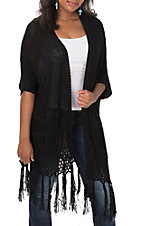 Homeyme Women's Black Crochet with Fringe 3/4 Cardigan