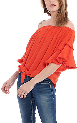 UMGEE Women's Red Off The Shoulder Ruffle Tie Front Fashion Top