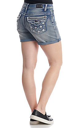 Wired Heart Women's Medium Wash Americana Pocket Shorts