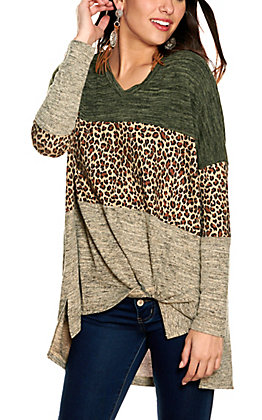Umgee Women's Olive, Leopard and Oatmeal Knot Front V-Neck Long Sleeve Top