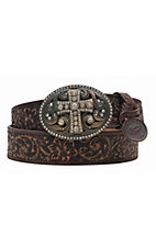 Justin Women's Vintage Black Tooled Leather w/ Crystal Cross Buckle Western Belt