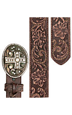 Justin Ladies Vintage Brown Tooled Leather w/ Crystal Cross Buckle Western Belt