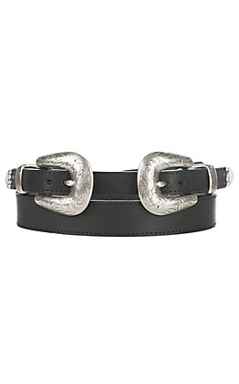Justin Women's Annie Oakley Double Buckle Black Fashion Belt
