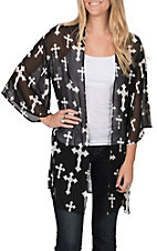 R. Rouge Women's Black and White Cross Kimono