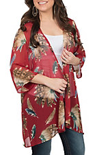 R. Rouge Women's Red Headdress Print Kimono