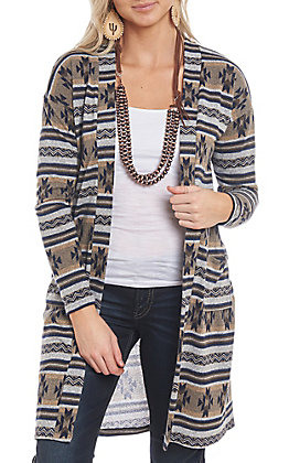 R. Rouge Women's Navy and Khaki Aztec Cardigan
