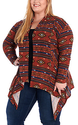 R. Rouge Women's Rust Multi Aztec Cardigan - Plus Size