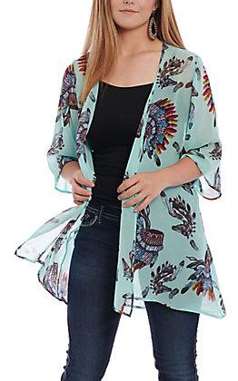 R. Rouge Women's Turquoise Indian Headdress Print Kimono