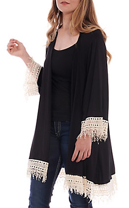 R. Rouge Women's Solid Black With Lace Kimono