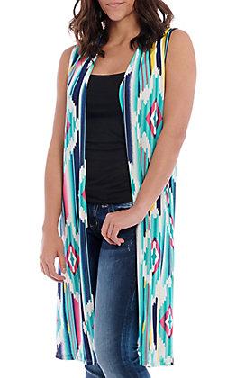 R. Rouge Women's Turquoise Aztec Print Vest