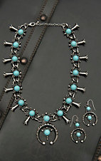 Blazin Roxx Silver with Turquosie Circle Stones and Silver Crescent Pendant Jewelry Set