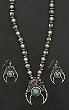 Blazin Roxx Silver with Turquosie Circle Stone, Silver Beading, and Silver Crescent Pendant Jewelry Set