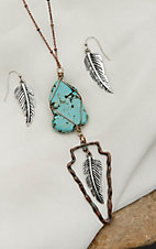 Blazin Roxx Copper with Turquoise Stone, Arrow, and Feather Pendant Necklace & Earring Jewelry Set