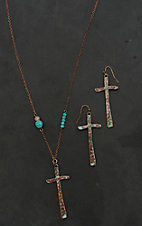 Blazin Roxx Copper with Cross and Turquoise Detail Jewelry Set