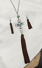 Blazin Roxx Silver with Turquoise Accents and Cross with Tassel Pendant Necklace and Earring Jewelry Set