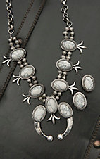 Blazin Roxx Silver with Ivory Squash Blossom Jewelry Set