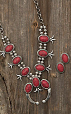 Blazin Roxx Silver with Red Squash Blossom Jewelry Set