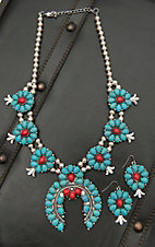Blazin Roxx Silver Beads with Turquoise and Red Stone Medallion Jewelry Set